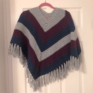 New! Handmade poncho one size grey/blue/purple
